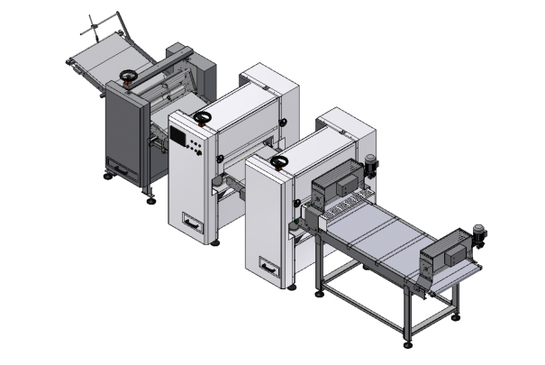 Laminating line for blocks